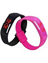 Pappi Boss Unique Unisex Silicone Set of 2 Black Digital Led Bracelet Band Watch for Boys & Cute Pink Digital Led Bracelet Band Watch for Girls - Combo Offer