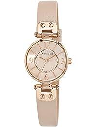 Anne Klein - Reloj para mujer, con correa de cuero de color rosa