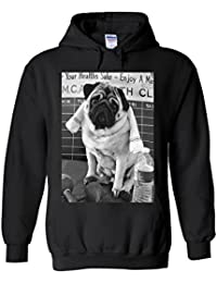 Pug Gym Workout Funny Novelty White Femme Homme Men Women Unisex Sweat à Capuche Hooded Sweatshirt Hoodie