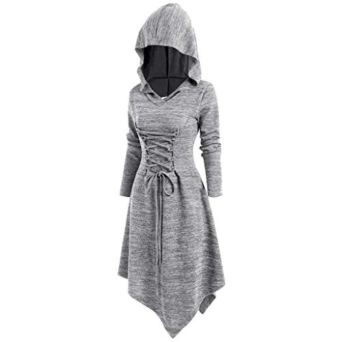 ❤Loveso❤ Damen Sweatkleid Kleid Mit Hoodie Asymmetrischer Saum Shirtkleid Cross Zurück Aushöhlen Casual Swing Kleid Vintage Tunika Kleid (Bra Cross Top Zurück)