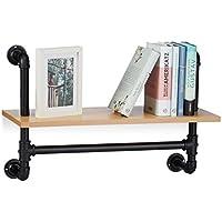 Preisvergleich für Relaxdays Wandregal Industrie, 1 Ablage, Wandmontage, Bücherregal, Holz, Vintage, Retro-Look, HBT 41,5x60x24 cm, natur