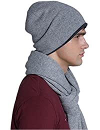 Prettystern - Beanie Hat 100% cashmere wool two-color two-layers dark & light grey for Men & Women