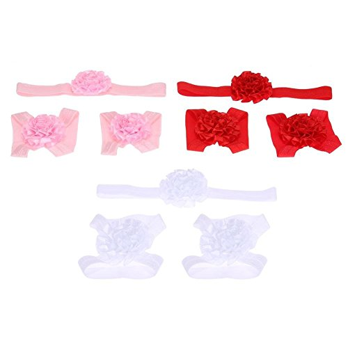 Chinatera Baby Girl's Set Foot Flower Barefoot Chain Headbands Set Free Size As Picture