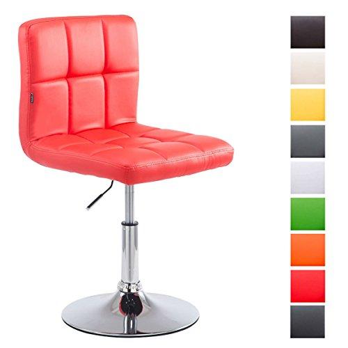 Clp sedia lounge di design palma v2, rivestimento in similpelle, capacità carico massimo 135 kg, imbottita, seduta girevole, altezza regolabile, schienale, base tonda in metallo cromato rosso