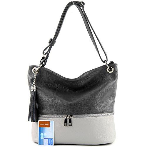 modamoda de -. Ital signore borsa in pelle tracolla borsa tracolla in pelle borsa T143 Dunkelgrau/Grau