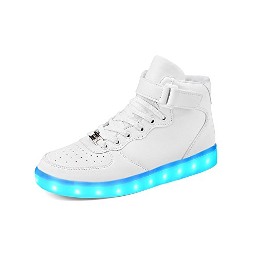 huhe 2017 Verbesserung Blinkende Leuchtende High Top Light Up Sneakers(33,Weiß-HighTop) (Halloween-kind-aktivitäten)