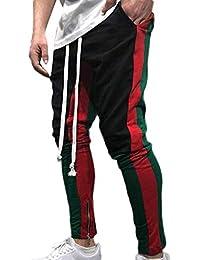 YanHoo Pantalones de chándal Sueltos Ocasionales de la Aptitud del Deporte de los Hombres de la