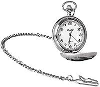 Plata / Negro nudo celta Cromado Hunter completa Relojes de bolsillo del cuarzo de Woodford