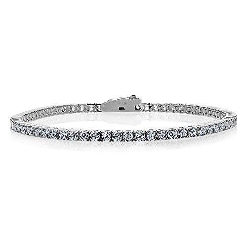 Bracelet Tennis Femme 14 ct Or Blanc 585/1000 3mm Rond Oxyde de Zirconium (Verfügbare Länge 17.8 & 19 CM)