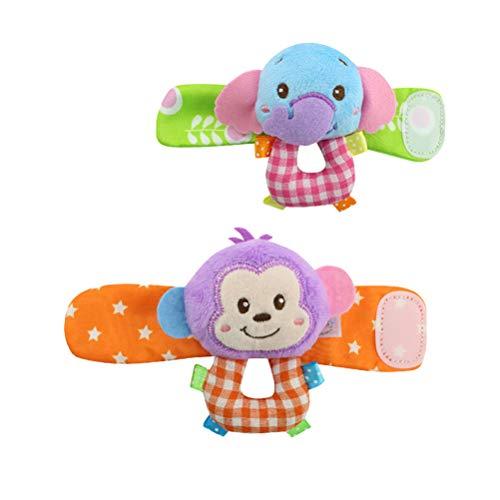 Toyvian Handgelenk Rassel Baby AFFE Elefant Fuß Armrassel Wrist Strap Rattles Entwicklungsspielzeug 2 Stück