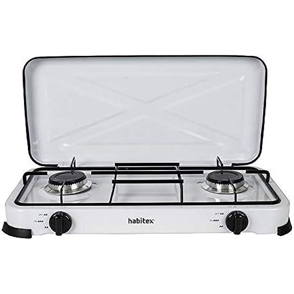 Habitex Cocina PORTÁTIL Gas 2 Fuegos: Amazon.es: Hogar