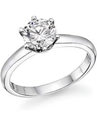 Klassischer 14 Karat (585) Weißgold Solitär Verlobung Diamant Damenring Brilliantschliff 1/2 Karat