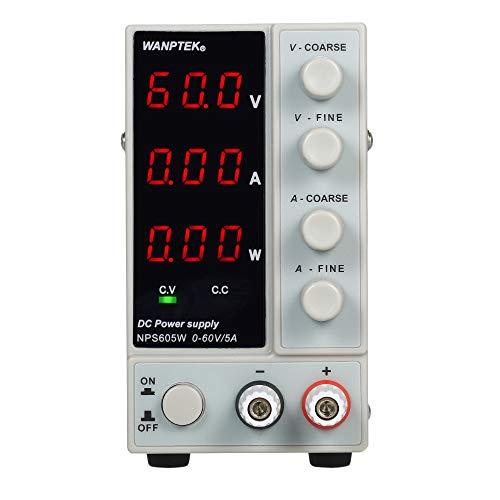 KKmoon Labornetzteil Labornetzgerät 0-60V 0-5A DC Schaltnetzteil 3-stellige LED Anzeige Hochpräzises einstellbares Mini-Netzteil Spannung und Strom geregelt, doppelter Ausgang -