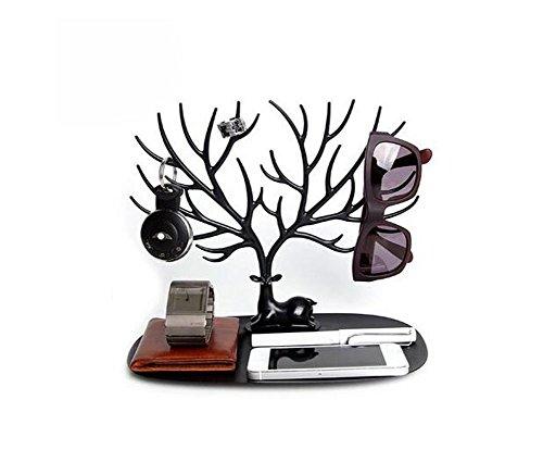 Espositore collane e anelli decorativo a forma di cervo sika con albero black s