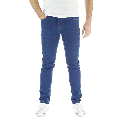Da uomo Jeans Skinny elasticizzato con onice 70s Denim Pantaloni Mid Blue 36W x 34L