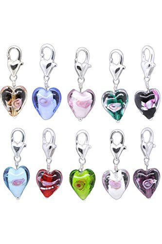 HooAMI 20PC Glass Heart Clip On ...