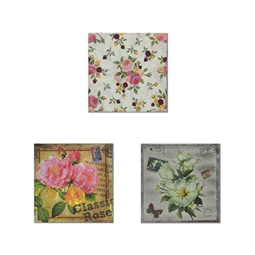 Einweg farbigen Blumendruck Papier Servietten 2-lagig für Partys und Events (je 3Motive sortiert, 20-count) Floral 2 Teller