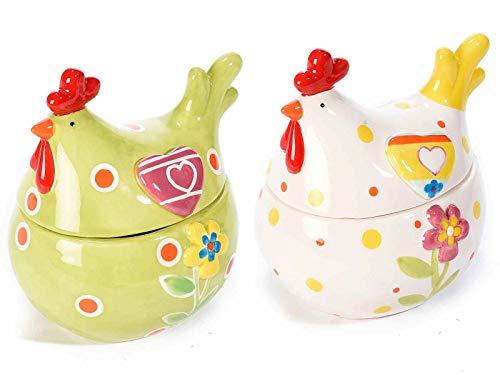 Ideapiu pasqua, ceramiche e portauova 2 gallinelle in ceramica portadolci, idee regali pasqua, decorazioni pasquali, portadolci in ceramica pasqua