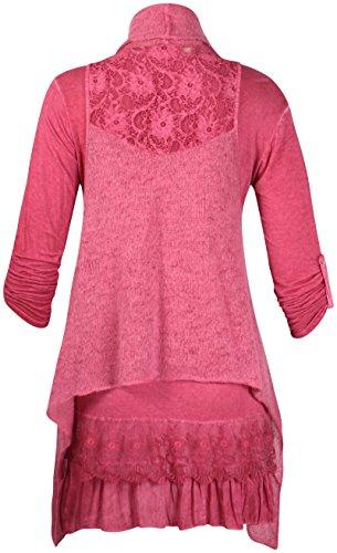 Womens Aufgerollter Ärmel Damen Mohair Gestrickt Gefüttert Made In Italy langes T-Shirt oben Weinrot