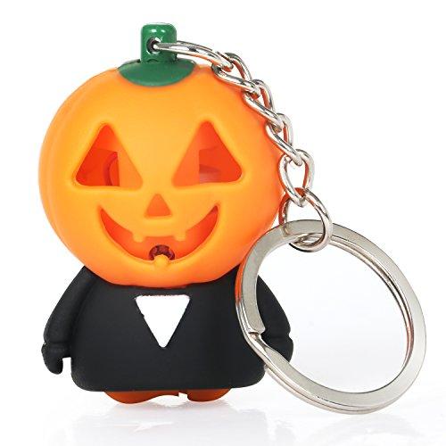 TRIXES Orangefarbener leuchtender Halloween Kürbis Schlüsselanhänger mit gespenstisch gruseligem - Kürbis Halloween-cartoon