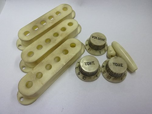 made-in-japanhigh-quality-vintage-relic-strat-knob-relicwhite-switchknob-armcap-pickupcover-set-inch