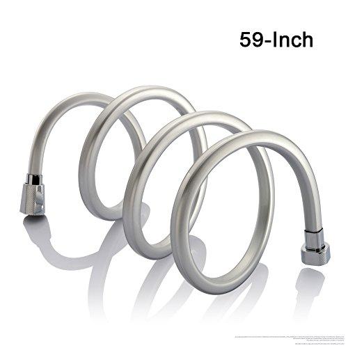 Brauseschlauch,PVC doppelt gewickelt,quadratisch Flexible Duschschlauch Länge 1,5 M chrom mit Knickschutz und Metalloptik