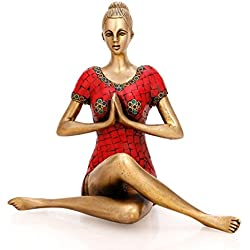 CraftVatika Lotus Pose Estatua Figura decorativa con instrucciones de Yoga latón Descripción Yoga Lady estatua