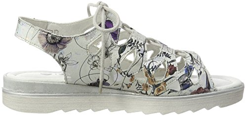 Remonte D1150, Sandales Bout Ouvert Femme Multicolore (Offwhite-metallic/90)