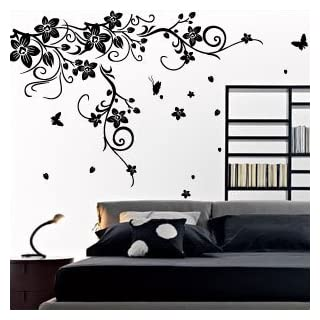 amazing sticker Large Large Vine Flower Butterfly Wall stickers/Wall decal-Black