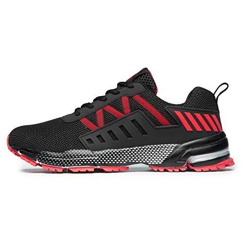 FITORY Sportschuhe Laufschuhe Gym Turnschuhe Atmungsaktiv Straßenlaufschuhe für Herren Damen Rot Gr.44