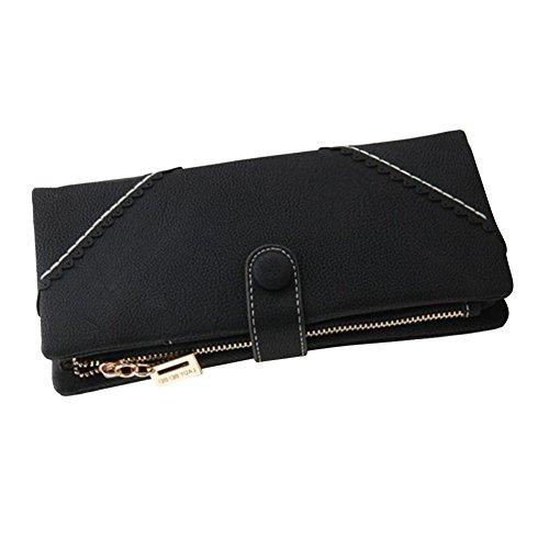 Bcony Mode grande capacité Lady longue en cuir Portefeuille/ Porte-monnaie / sac à main de la femme avec le bouton et intégré dans la poche à monnaie,Noir