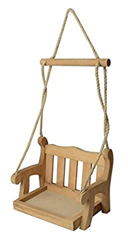 LIVIVO ® Wooden Garden Swing Chair Bird Feeder – Charming and Attractive Hanging Bird Feed Station Suitable for Smaller Garden Birds - Ideal for Hanging from Trees or Garden Structures - Features Removable Feeding Tray for Easy Cleaning - Solid Treated Wood Construction with Tweed Rope is perfect for Outdoor Use