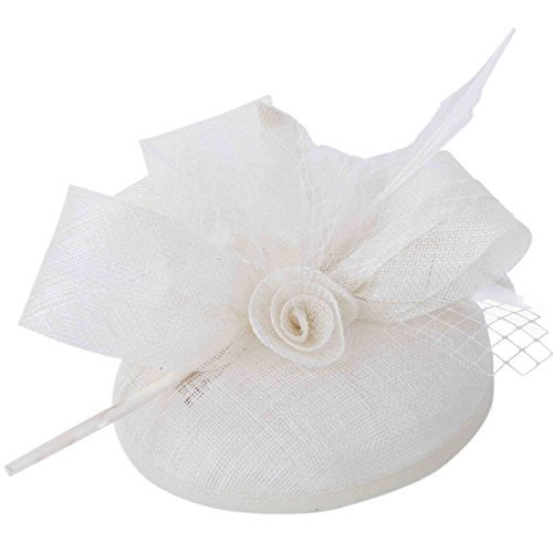 Kapmore Fascinator Feather Pillbox Hat Cocktail Party mariage de Femmes Bow Veil (White) white