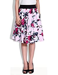 Digital Rose Print Skirt