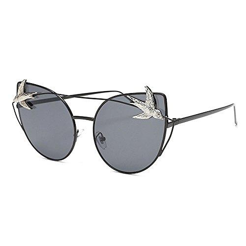 Katzenaugen Große Sonnenbrille für Frauen Männer Vogel Dekoration Metallrahmen Sonnenbrille Unisex Umrandete Sonnenbrille Lady Klassische Retro Sonnenbrille Persönlichkeit Fahren Sonnenbrille UV Schutz Sonnenbrille (Vogel Bein Bänder)