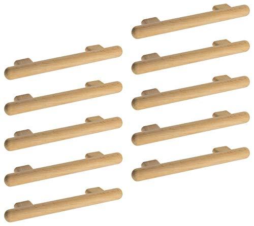 Gedotec Moderner Design Türgriff Schrank-Tür Schubladengriff rund Holz-Griff Möbelgriff Erle - KIVOR | Schrankgriff Küche Ø 20 mm | Lochabstand: 128 mm | 10 Stück - Kommoden-Griff für Schubladen