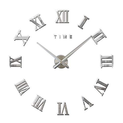 Fas1 grande orologio da parete moderno diy adesivo 3d stickers numeri romani orologio da parete rimovibile per casa ufficio, batteria non inclusa argento