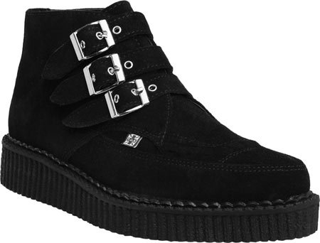 T.U.K Mens Pointed Creeper Suede Boots Black