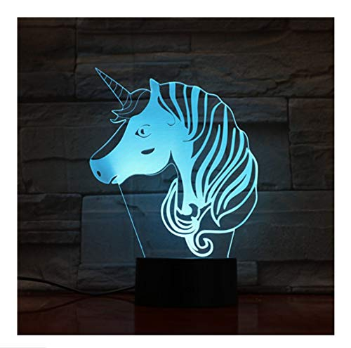 Luces Nocturnas Led De Unicornio 7 Colores Para La Decoración De Casa Lámpara Increíble Visualización Ilusión Óptica Regalo