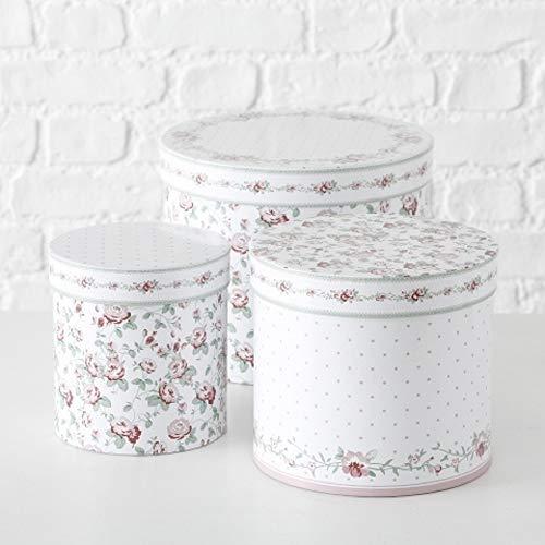 Paper Collection Geschenkschachtel Kartonage Box 3er Set Romantisches Rosen Design Streublümchen D15-25cm rund Runde Box