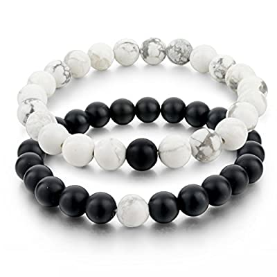 Long Way Distance Bracelets for Lovers-2pcs Black Matte Agate & White Howlite 8mm Beads