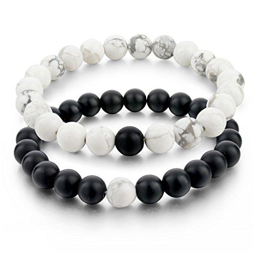 long-way-distance-bracelets-pour-les-amoureux-agate-noir-mat-blanc-howlite-perles-8mm-2-pieces