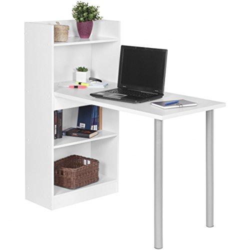 PC-Schreibtisch modern mit Regal 121,5 x 120 x 70 cm Spanplatte | Computertisch platzsparend | Laptoptisch holz weiß matt