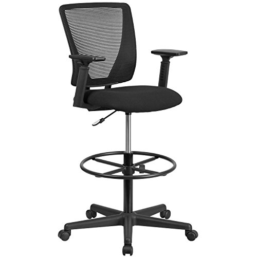 Flash Furniture Ergonomic Mid-Back Mesh Drafting Chair with Fabric Seat Foot Ring and Adjustable Arms, Metal, Black, 67.31 x 65.41 x 29.21 cm