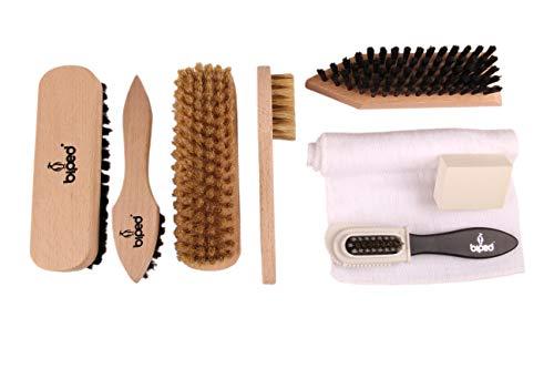 Biped Set de cepillos de zapatos incl. Cepillos de gamuza y cepillos de pulido - Cepillo de limpieza...