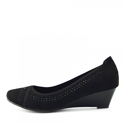 Kick Footwear - WOMENS FAUX SUEDE LOW HEEL WEDGE CASUAL WORK POSH...
