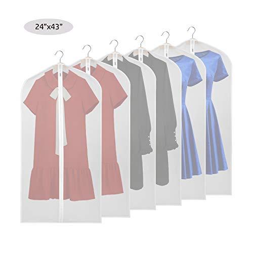 Kleidersäcke abdecken 109cm Anzug Tasche zur Aufbewahrung von Mottenschutz, wasserdicht Waschbar Durchscheinend Leicht Voller Reißverschluss (6 pcs) Reißverschluss (6 Stück)