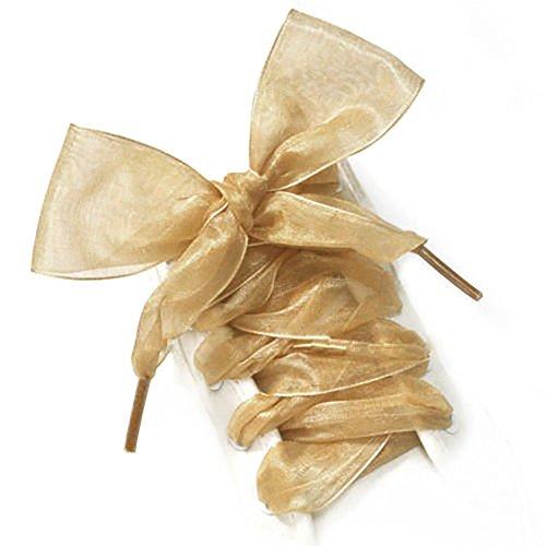 1paio 110cm Fashion organza nastro scarpe sportive scarpe sportive Bowknot piatto lacci Collectsound, colore dorato