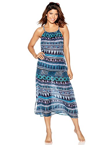 M&Co Ladies Swimwear Lightweight Sheer Mosaic Tile Print Midi Holiday Cover Up Holiday Beach Dress Blue 14
