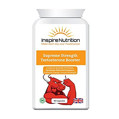 Supreme Strength Testosterone Booster - Strongest natural testosterone booster, for ultimate strength and muscle growth, Boost stamina and energy levels - 110% Money Back Guarantee by Inspire Nutrition